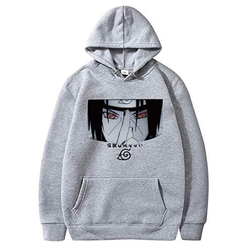 Naruto Hoodie Herren, Damen Uchiha Itachi Akatsuki 3D Druck Pullover Männer Anime Pulli Teenager Jungen Mädchen Baumwolle Langarm Sweatshirt Locker Casual Kapuzenpullover Shirt Tops (Grau,XL)