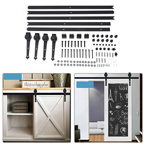 Schiebetürbeschlag 366cm(12FT)/488cm(16FT) Laufschienen Schiebetürbeschlag, Hängeschiene Schiebetürsystem Tür Hardware Kit für Schiebetüren Innentüren und Wandschränke (488cm(16FT))