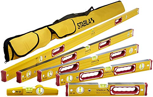 """Stabila 78496 Type 196 Heavy Duty Complete 6 Level Kit - 78""""/48""""/32""""/24""""/16""""/10"""" Die Cast Magnetic Torpedo Level Includes Nylon Carrying Case, Yellow"""