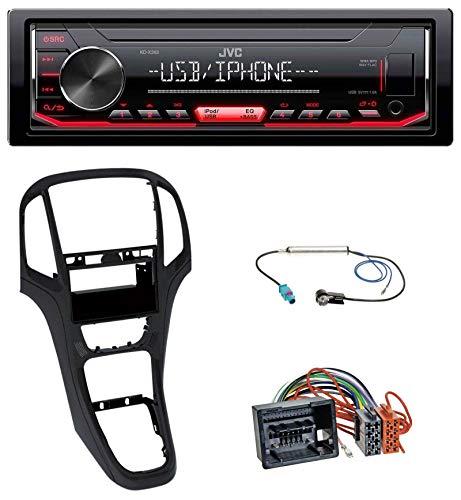 caraudio24 JVC KD-X262 1DIN MP3 USB AUX Autoradio für Opel Astra J ab 2009 Perl schwarz