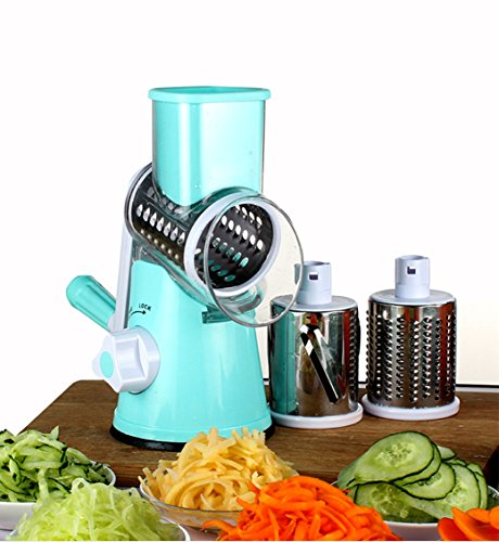 Mandoline Slicer With 3 Round Stainless Steel Blades,Manual Veggie Slicer,Fast Vegetable/Fruit Cutter,Cheese Shredder,Rotary Drum Grater with Strong-Hold Suction Cup with Free Clean Brush, Blue ¡