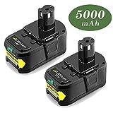 2X Reoben P108 18V 5.0Ah Paquet de Lithium Remplacement pour Ryobi Batterie ONE + RB18L50 RB18L25 RB18L15 RB18L13 P108 P107 P122 P104 P102 P103 avec Indicateur LED