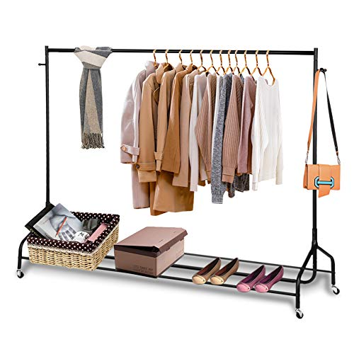 Clothes Garment Rack Rolling Clothing Hanging Rack Commercial Grade Steel Clothes Rail Display Stand Storage Organizer on Wheel with Bottom Shelf for Home Living Room Bedroom