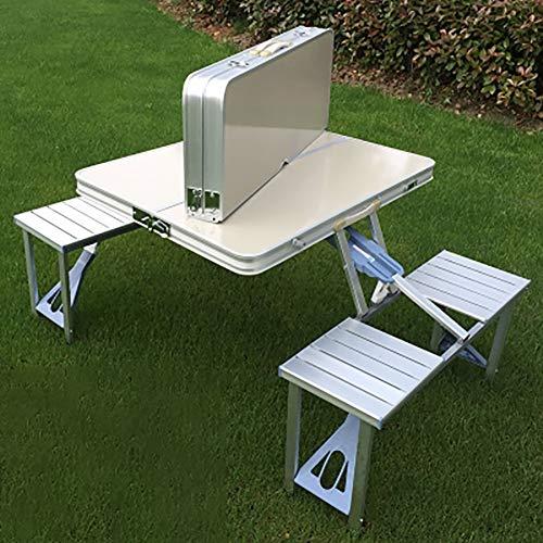 SHARESUN Outdoor opklapbare campingtafel en stoelset, aluminium legering draagbare campingtafel en stoel voor 4 personen, voor reizen strand picknick barbecue tuin binnenplaats met draagtas