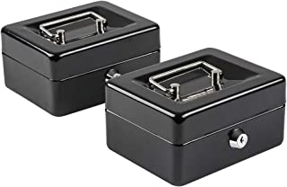 Kyodoled 2 Small Cash Box with Money Tray, Portable Metal Money Box with Key Lock,Security Lock Box with Double Layer,5.91