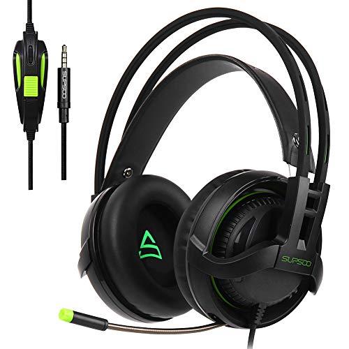 SZKQN Headset Gaming Headset, Casque de Jeu avec Son Surround 3,5 mm, Cache-Oreilles Doux avec Microphone pour PC, Ordinateur Portable, Jeux vidéo