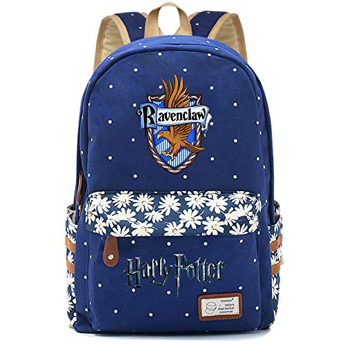 NYLY Mochila Floral Harry Potter Mochila Ravenclaw,Teen Boys Girls Fashion Mochila Escolar Bolsa de Cuaderno Unisex (Azul Oscuro) Estilo-1