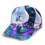 Gorra de béisbol curvada 3D unicornio arco iris bosque árbol curvo ala ajustable...