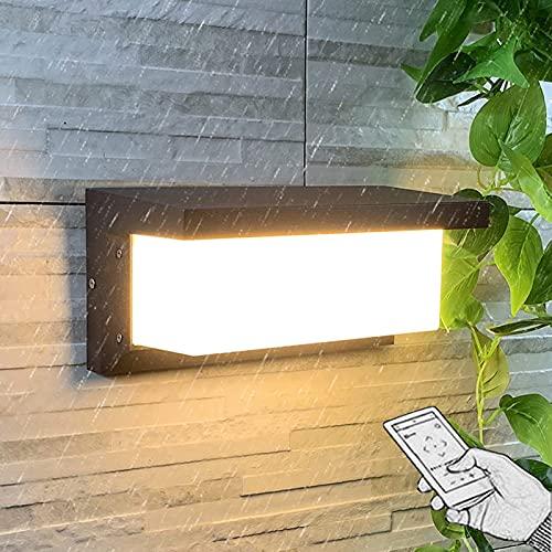 VOMI Luz Solar Exterior LED Aplique con Sensor de Movimiento Impermeable IP65 Exteriores Jardin Aluminio Lámpara de Pared con Mando a Distancia 4 lluminación Modos para Porche Villa Pasillo,3000k