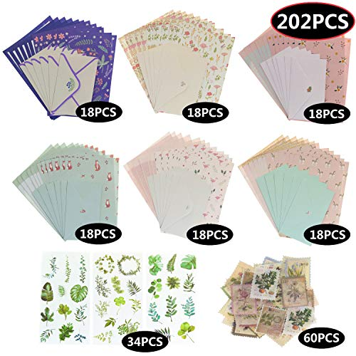 202 PCS Letter Writing Stationery Paper Cute Lovely Letter Set, 72 PCS with 36 PCS Envelopes & Seal Stickers for Kids Girls, 6 Different Style…