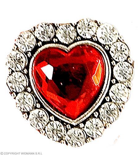 Widmann Heart Ring W/Red Gem & Strass
