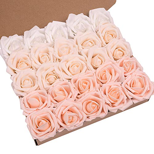 N&T NIETING Artificial Flowers Roses, 25pcs Real Touch Artificial Foam Roses with Steams for Baby Shower, Cake Decoration DIY, Wedding Bridal Bouquets
