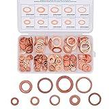 Saipor 200 pezzi M5-M14 Rondelle piatte in rame, anelli di tenuta metrici in rame, assortimento di anelli di tenuta piatti con scatola per viti (9 misure)