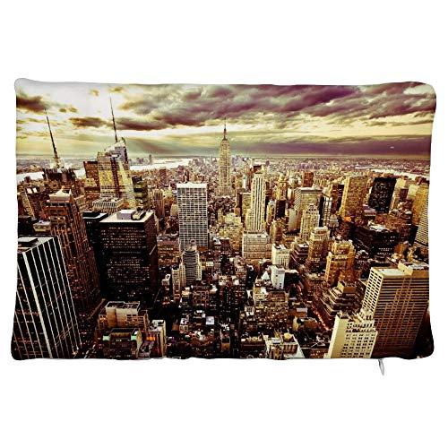 happygoluck1y Twilight in New York City - Fundas de cojín rectangulares de terciopelo, 30 x 50 cm, con cremallera, para sofá, adolescentes y niñas