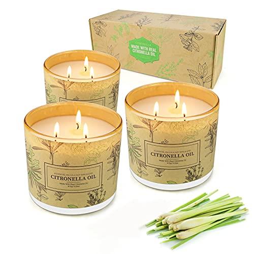 Yinuo Candle® Bougies Citronnelle,Ensemble de Trois 3 Mèches