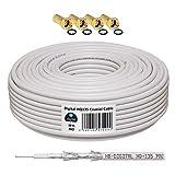 Câble coaxial Sat HQ 130DB - 135 Pro Quadruple Blindage pour systèmes DVB-S / S2...