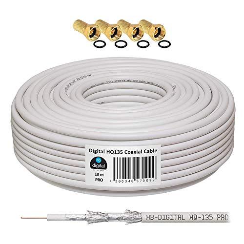 130 db 10 m Cable Coaxial SAT HQ-135 PRO 4 x escudada para DVB-S/S2 DVB-C y sistemas DVB-T BK plus 4 F-conector Dorado-Plateado incluye juego de