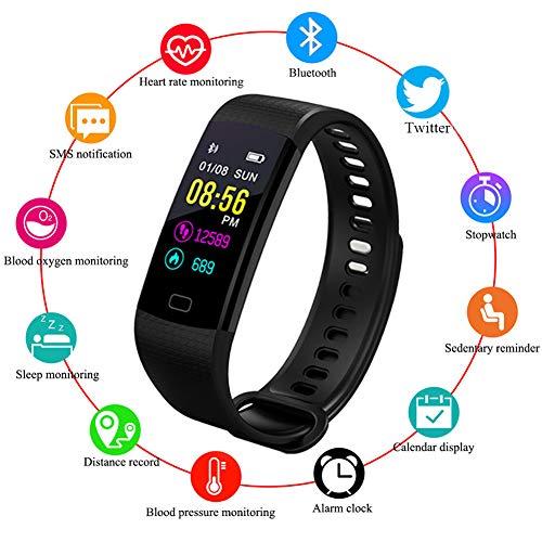 LIGE Fitnessarmband met hartslagmeter, fitnesstracker horloge waterdicht IP67 bloeddrukmeter stappenteller horloge stoppwatch sport GPS activiteitentracker slaapbewaking oproepsms voor kinderen dames en heren