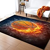 KITHOME Contemporary Non-Slip Area Rug Cool 3D Basketball with Flame Print Printed Rugs Art Carnival Rubber Backing Living Room Floor Mats Rectangle Area Rug Carpet for Indoor 2'x3'