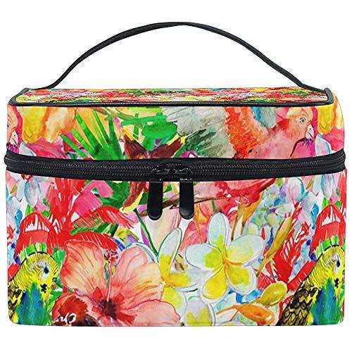 Oiseaux et fleurs d'été sac cosmétique voyage maquillage train cas stockage organisateur
