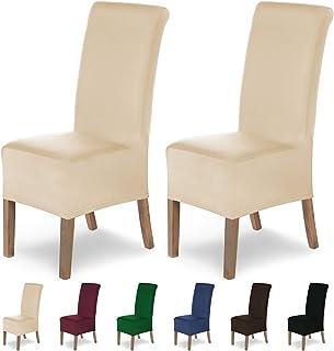 comprar comparacion SCHEFFLER-Home Lena 2 Fundas de sillas, Estirable Cubiertas, Moderna extraíble flexibel Funda con Banda elástica, Crema