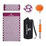 LONCHDAN Acupressure Mat and Pillow Set with 16IN Muscle Massage Roller, Accupuncture Massaging Mat 7911 Pressure Points Mats for Back Pain Relief, Foot/Leg Muscle Relaxation and Sleeping Aid (Purple)