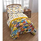 CA 3 Piece Kids White Yellow Emoji Themed Sheet Set Twin Sized, Fun Emoticon Bedding Smile Face Sunglasses Brown Monkey Humor Pattern Text Icons Heart Eyes Diamonds Target, Microfiber