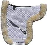 ENGEL GERMANY Tapis de selle DE LUXE en peau de mouton couleur coton blanc fourrure bleu (Sadek 4) Concours complet d'équitation (CCE) Combinez-vous avec 12 coleur de peau de mouton