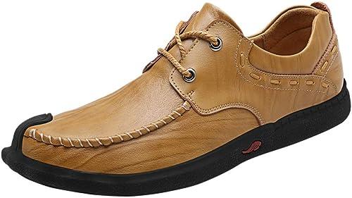 XHD-Chaussures Mocassins d'affaires pour Hommes Cuir Confortable Confortable avec Doubleure et Semelles intérieures au Toucher Doux (Couleur   Kaki, Taille   44 EU)  achats en ligne et magasin de mode