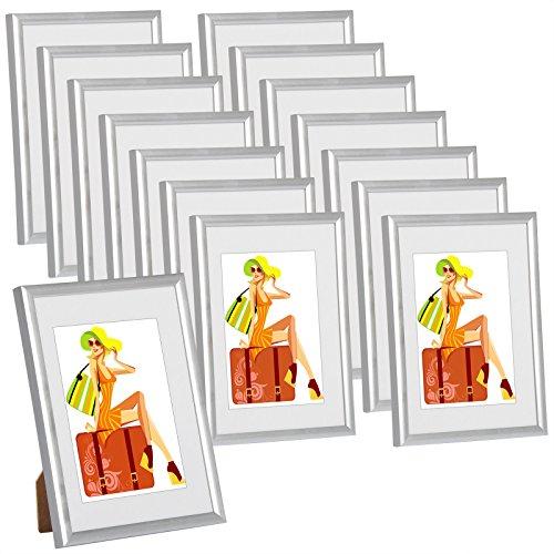 WOLTU #315 Bilderrahmen Bildergalerie Fotogalerie mit Passepartout, Foto Collage Galerie, Kunststoff und Echtglas, New Life Style, Silber, 10x15 cm, 15er Set