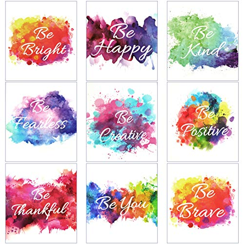 9 Pieces Inspirational Wall Art Prints Colorful Abstract Paint Unframed Inspirational Posters for Home Office Watercolor Canvas Print Decoration