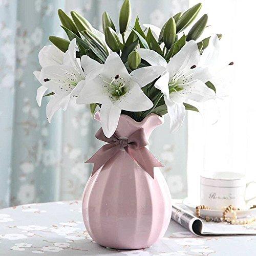 FlowerW Natural Lily Artificial Flower Lily, set van 4 Gkongu bontjes Realist boeketten met 3 bloembollen, ideaal voor indoor party festival celebratie vaas decoratie
