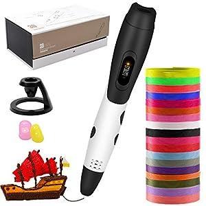 Bolígrafo 3D, bolígrafo de impresión 3D inteligente con filamento de 18 colores, control de temperatura de impresión de 6 velocidades, compatible con PLA y ABS, Regalos de Navidad