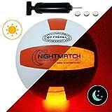 NIGHTMATCH Balón de Voleibol Ilumina Incl. Bomba de balón - LED Interior se Enciende Cuando se rebotado– Brilla en la Oscuridad - Tamaño 8 - Tamaño y Peso Oficial