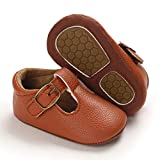 BENHERO Infant Baby Girls Shoes Mary Jane Flats Bownot Soft Leather No-Slip Toddler First Walker Princess Dress Shoes Baby Moccasins Girls Shoes(12-18 Months Toddler Z/Brown)