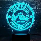 KangYD Motorrad Serie 3D LED Nachtlampe, Wohnkultur, Urlaub Kinder Geschenk Spielzeug, Warme Lampe, Hohe Qualität, Bunte Lichter, C - Touch 7 Farbe (Crack White)