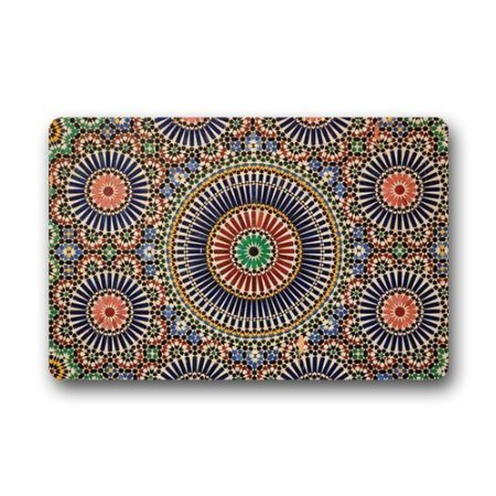 JessPad Oud Marokkaans Patroon Decoratie/Deurmat Marokkaanse Duurzame Koraal Fluwelen Deurmat, Binnen/buiten Vloermat
