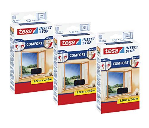 tesa Insect Stop COMFORT Fliegengitter Fenster - Insektenschutz mit Klettband selbstklebend - Fliegen Netz ohne Bohren (120 cm x 240 cm, 3er Pack/Anthrazit (Durchsichtig))