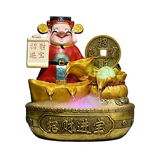 Fontaine d'Intérieur Fuente de la mesa de la mesa - Símbolo de la riqueza Feng Shui Wheel Lucky Flowing Agua Decoración de agua tranquila y relajante sonido de agua para la decoración de la oficina Fe