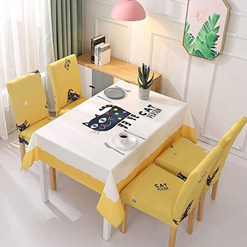 WJDHSG Mantel Elegante,Manteles y Fundas para sillas Paño de Escritorio Rectangular Mantel Impermeable Cubierta de Mesa de Comedor Cubiertas detoallitas de Dibujos Animados deMesa de té, Gato a