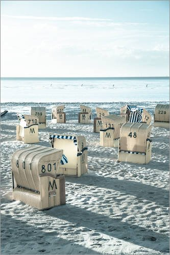 Poster 61 x 91 cm: Strandkörbe an der Nordsee in Duhnen (Cuxhaven/Germany) von gn Fotografie - hochwertiger Kunstdruck, neues Kunstposter