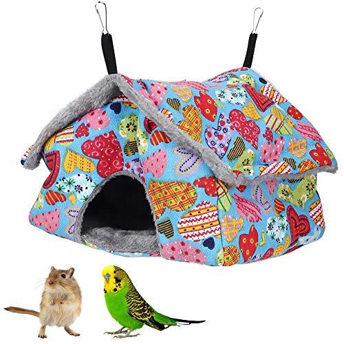 Hamsterhangmat, kleine huisdierentoren Hangmat Hangend huis Warm slaapnest voor kleine huisdieren Vogels Papegaaien Chinchilla Eekhoorn Cavia Rat Muizen(Blauwe perzik hart)