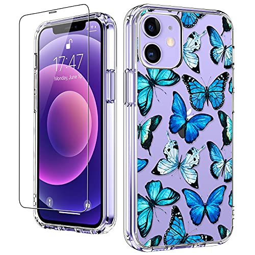 LUHOURI for iPhone 12 Case,iPhone 12 Pro Case with Screen Protector,Blue Butterflies Floral Flower Designs on Crystal Clear Cover for Women Girls,Protective Phone Case for iPhone 12/12 Pro 6.1'