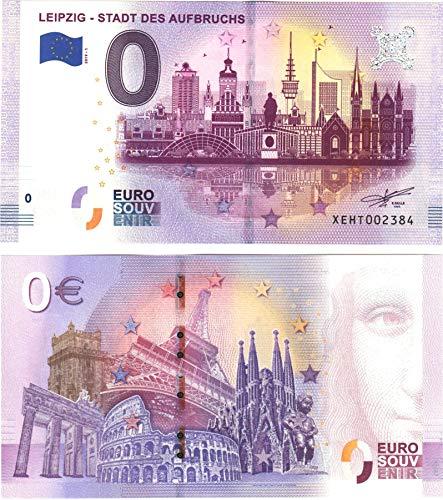 0 Euro Schein Leipzig - Stadt des Aufbruchs - Null Euro Souvenier Banknote mit verschiedenen Sehenswürdigkeiten