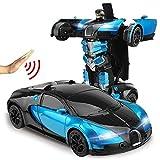Poooc Transformación del coche de RC Robots modelo deportivo del vehículo Gesto de inducción Deformación Robots juguetes con un solo botón de control remoto de coches fresco de deformación Juguetes fo