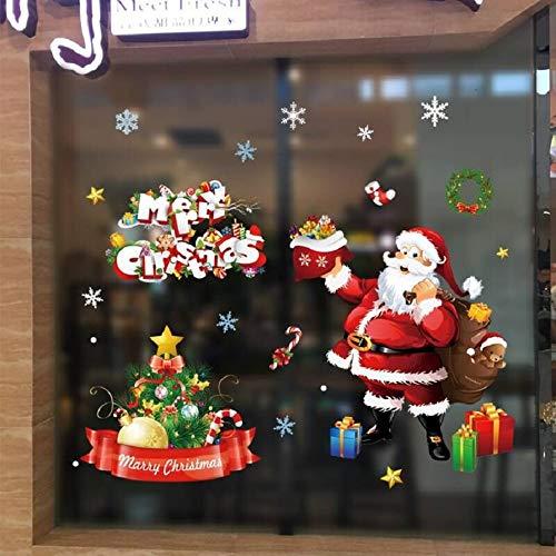 Tuopuda Natale Adesivi Decorazione Babbo Natale Adesivo Natale Vetrofanie Display Finestra Sticker Wallpaper Murali Fai Da Te Finestra Rimovibile Adesivi (Multicolore)