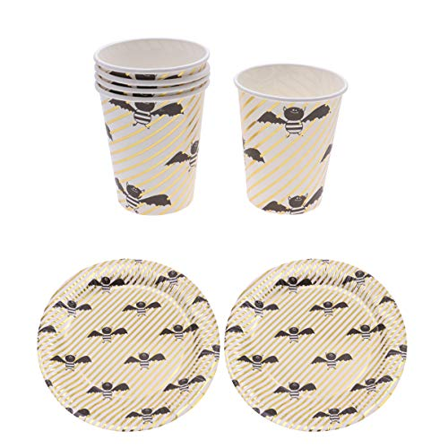 Hemoton 20pcs Halloween Disposable Tableware Set Gold Plated Cute Bat Pattern Paper Plates and Cups Plates and Cups for 10 Pieces Each