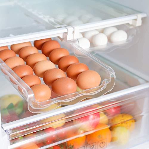 Aufbewahrungsbox,automatischer einziehbarer Schubladen-Organizer aus transparentem Kunststoff,Auto Scrolling Egg Storage Holder,Eggs Storage Rack für Kühlräume aus Kunststoff-Platz für bis zu 21 Eier