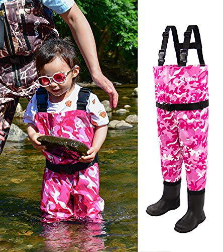 NEYGU Slim-Fitting Toddler & Children's Waterproof&Breathable Waders with Rubber Boots (Pink camo, EU24/8.5C)