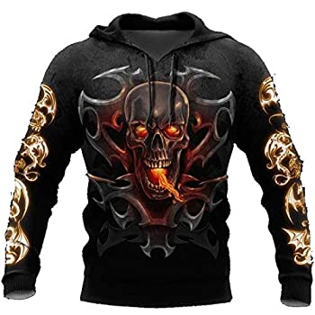 3d Armor Tattoo And Dungeon Dragon Skull Hoodie Long Sleeves Fleece Size S-5xl UnisexUnisex 3D Print Design Pullover Native Wolf American Fleece